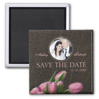 Pink Tulips&Elegant Leather Add Your Photo Wedding 2 Inch Square Magnet