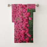 Pink tulips field bath towel set