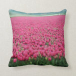Pink tulips field throw pillow