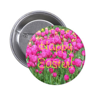 Pink Tulips Floral Easter Button