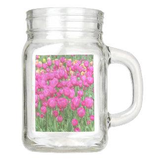 Pink Tulips Floral Mason Jar