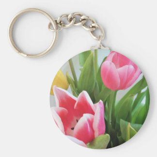 Pink Tulips, Floral Spring Bouquet, Flowers Keychain