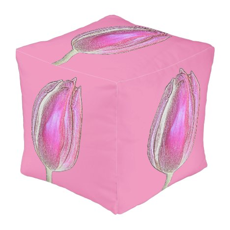 Pink Tulips Flower Floral Photo Pretty Cute 2020 Pouf