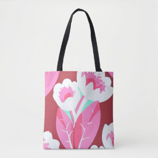 Pink Tulips Flowers Abstract art Tote Bag