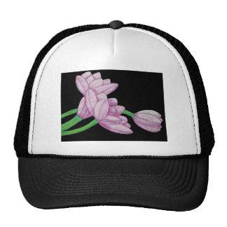 Pink tulips flowers original art graphic design trucker hat