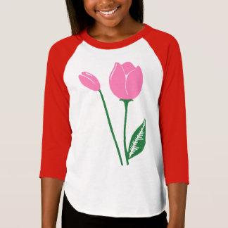 Pink Tulips Girls' Raglan T-Shirt