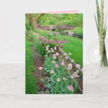 Pink Tulips Grandmother Happy Birthday Card