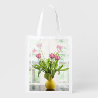 Pink Tulips Grocery Bag