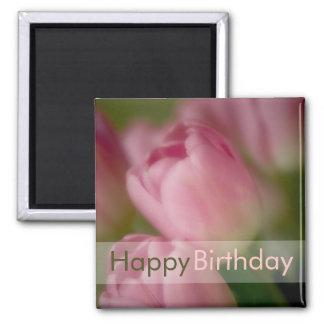 Pink Tulips • Happy Birthday Magnet