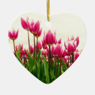 Pink Tulips Heart Shaped Ornament Wedding Keepsake