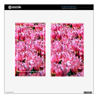 Pink Tulips in a Field Decal For Kindle Fire