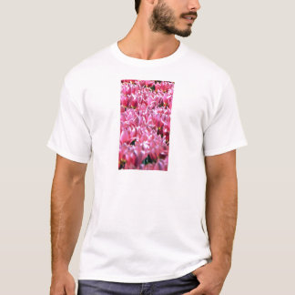 Pink Tulips in a Field T-Shirt