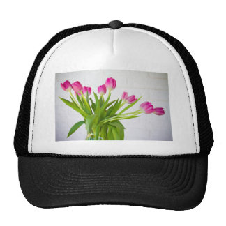 Pink Tulips in a Vase Mesh Hat