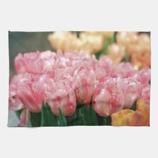 Pink Tulips in Bloom Kitchen Towel