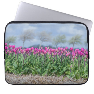 Pink tulips in the wind laptop sleeve