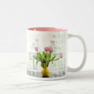 Pink Tulips In The Window Mug by Lois Bryan