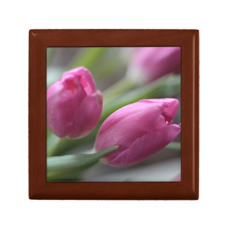 Pink tulips jewelry box