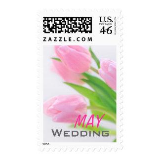Pink tulips May wedding Postage