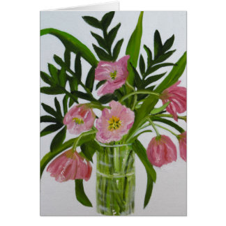 Pink Tulips note card