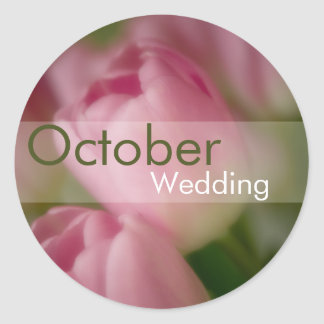 Pink Tulips • October Wedding Sticker