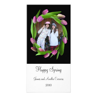 Pink Tulips on Black Photo Card