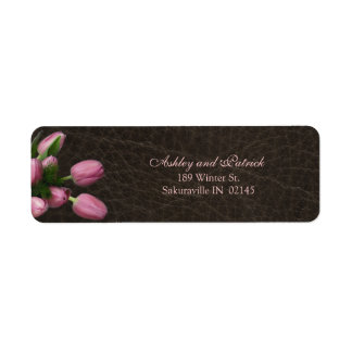 Pink Tulips on Leather Background  Adress Label