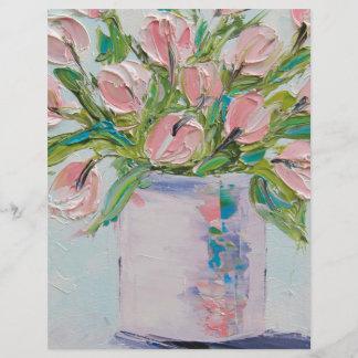 Pink Tulips Painting, Tulip Art, Textured Flowers