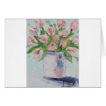 Pink Tulips Painting, Tulip Art, Textured Flowers Greeting Card
