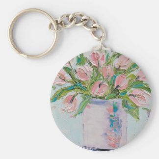Pink Tulips Painting, Tulip Art, Textured Flowers Keychain
