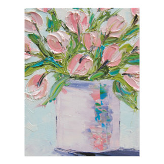 Pink Tulips Painting, Tulip Art, Textured Flowers Letterhead