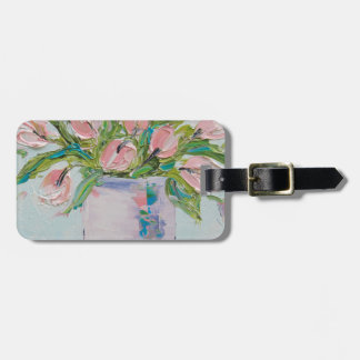 Pink Tulips Painting, Tulip Art, Textured Flowers Bag Tag