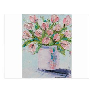 Pink Tulips Painting, Tulip Art, Textured Flowers Postcard