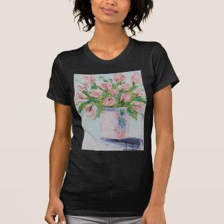 Pink Tulips Painting, Tulip Art, Textured Flowers Shirt