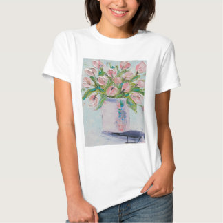 Pink Tulips Painting, Tulip Art, Textured Flowers T Shirt