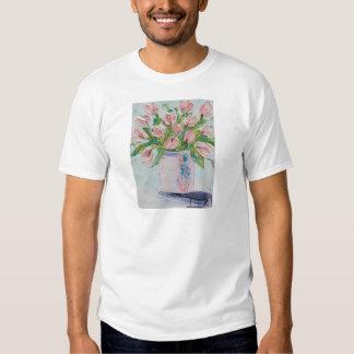 Pink Tulips Painting, Tulip Art, Textured Flowers T-shirt