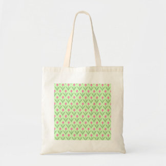 Pink Tulips Pattern on Green Pretty Floral Design Tote Bag