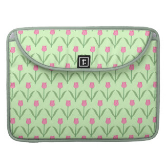 Pink Tulips Pattern on Green. Pretty Floral Design MacBook Pro Sleeves