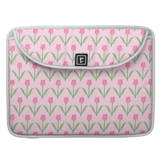 Pink Tulips Pattern. Pretty Floral Design. Sleeve For MacBooks