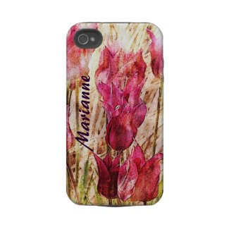 pink tulips personalized i-phone case tough iphone 4 cases