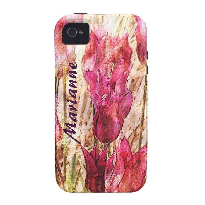 pink tulips personalized i-phone case