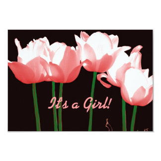 Pink Tulips Photo Baby Girl Birth Announcements