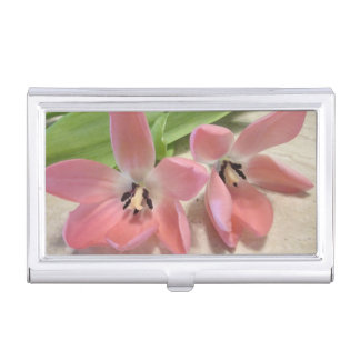 Pink Tulips Case For Business Cards