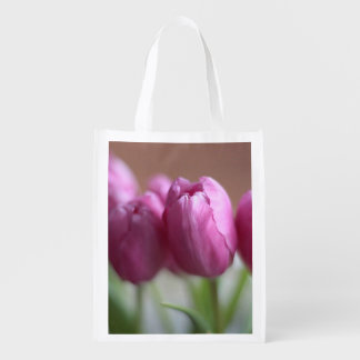 Pink tulips reusable grocery bag