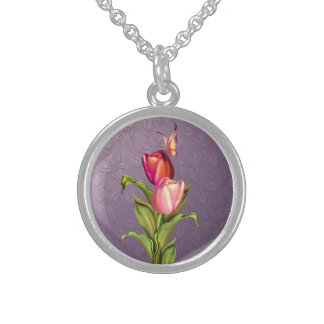Pink Tulips Round Pendant Necklace