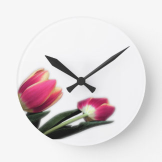 Pink Tulips Round Wall Clock