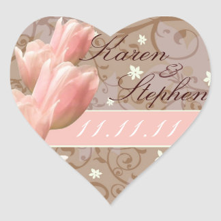 pink tulips save the date heart sticker