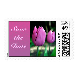 Pink Tulips Save the date postage