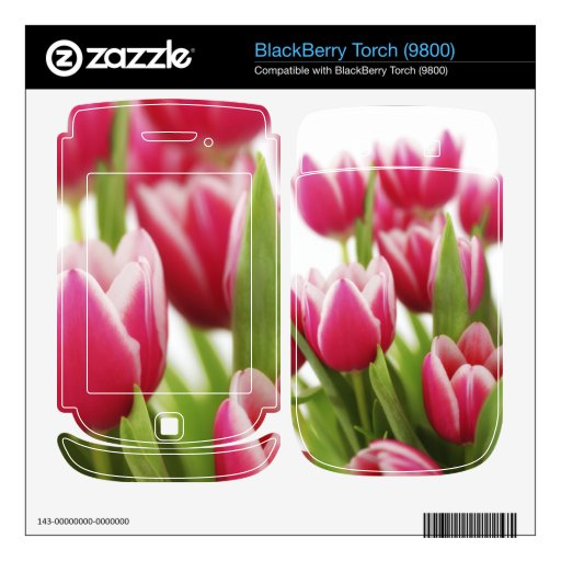 Pink tulips skin for BlackBerry torch