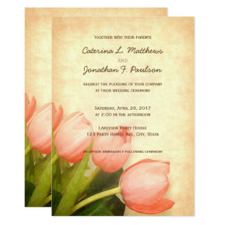 Pink tulips spring wedding invitation