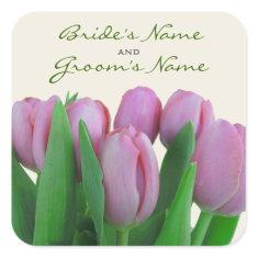 Pink Tulips Spring Wedding Sticker